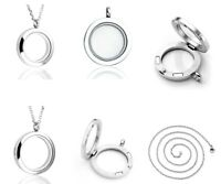 Stainless Steel Living Memory Floating Glass Round Locket Pendant Necklace Chain