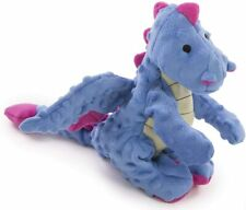 "Godog Periwinkle Dragon With chew guard 13""x9"" plush dog toy squeaker Large"