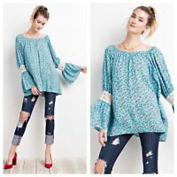 Blue Boho Bell Sleeve Floral Printed Loose Fitting Tunic Top Bohemian Gypsy Med