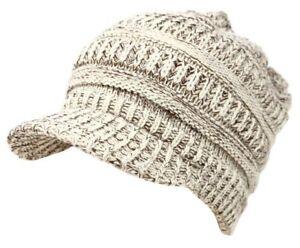 Unisex Winter Visor Beanie Knit Hat Cap Fur Lined Crochet Men Women Thick Warm