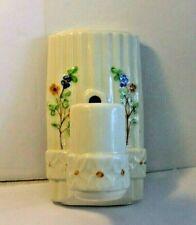 Vintage Ceramic Porcelain Art Deco Floral Wall Sconce Light Fixture with Outlet