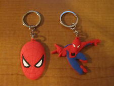 (2) SPIDERMAN Automobile Keychains Key Chain PVC Rubber FOB Metal Ring MARVEL