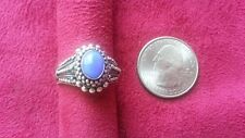 Beautiful Blue Gem Filigree Heavy Band Ring Real Sterling Silver *Size 8 *A057