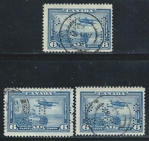 "Canada #OC6(9) PERFIN 6 cent MONOPLANE & STEAMER ""O.H.M.S."" 3 Used CV$4.50"
