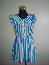 korean blue green pink white stripe long back short sheer dress