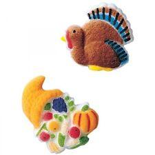 Sugar Decorations Cookie Cake Cupcake Thanksgiving Fall TURKEY CORNUCOPIA 12 ct.
