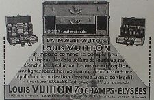 PUBLICITE LOUIS VUITTON LA MALLE AUTO VOITURE DE TOURISME DE 1925 FRENCH AD PUB