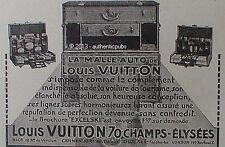 PUBLICITE LOUIS VUITTON LA MALLE AUTO VOITURE DE TOURISME DE 1925 FRENCH AD PUB