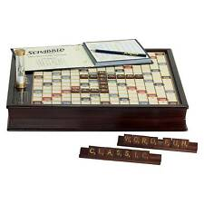 Scrabble Deluxe Wooden Edition Rotating Game Board Winning Solutions Solid Wood