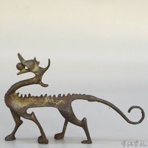 Collect Chinese Red Copper Hand-Carved Myth Dragon Moral Luck Decorate Statue