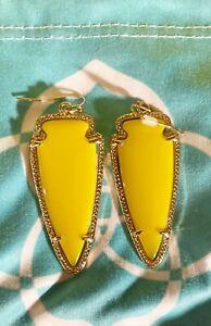 Discontinued & HTF Rare! Kendra Scott Yellow Skylar Arrow Dangle Earrings
