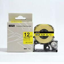 Epson LabelWorks 12mm x 8m Black on Yellow Compatible Label Tape LK-4YBW