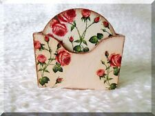 6 stylish vintage roses wood coasters in a holder box handmade decoration table