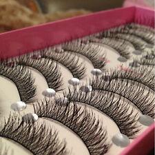 10 Pairs Long Thick CROSS False Eyelashes Party eye lashes Extension makeup