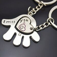 Cute Metal lovers couples keyring 3D Chain gift keyChain Hand & Heart I Miss You