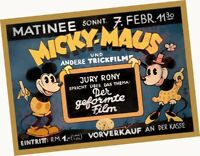 """1935 Micky-Maus + Andere Trickfilme 18""""x24"""" ART Glossy Photograph Poster Minnie"""