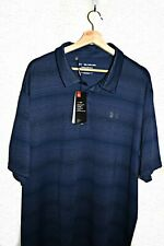 NWT Under Armour Performance Playoff Polo Shirt Gray Navy Stripes Men's 3XL