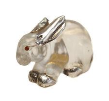 Luiz Ferreira Carved Rock Crystal 835 Silver Rabbit Figure with Garnet Eyes