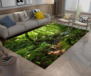 Summer Green Forest Area Rug Rectangle Floor Yoga Decor Carpet Baby Crawling Mat