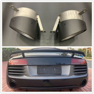 2pcs Carbon Fiber Exhaust Tip pipe End Pipes Tailpipes For Audi R8 2013-2015 UK