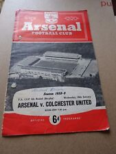Arsenal v Colchester FA Cup Jan 28th 1959