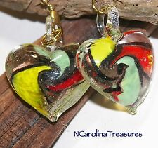 RED GREEN YELLOW SWIRL GLASS HEART HEARTS CEILING FAN LIGHT SWITCH PULLS LG PAIR