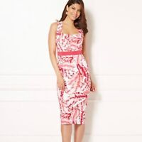 NWT Eva Mendes NY & Co Aline Palm Leaf Print Sheath Dress Size 2 Pink White