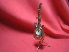 Vintage Mini Gold Tone Guitar Souvenir Novelty Quartz Watch with Stand