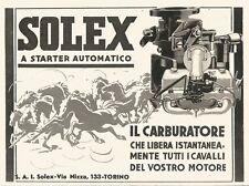 W2638 Carburatore a Starter automatico SOLEX - Pubblicità del 1938 - Old advert