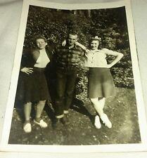 Vintage Old 1950's Photo Three Cool Teenagers Girls Boy School Friends Clovis CA