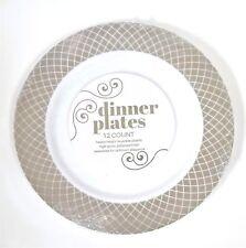 12 PC SET WHITE+SILVER REUSABLE HEAVY HIGH GLOSS PLASTIC OVERSIZED DINNER PLATES