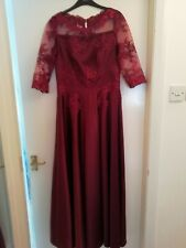 Red wine long dress/ mother of bride dress, approx size 14