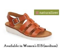 """naturalizer womens 11B (med) """"Donna"""" caged sandal in natural belting leather NWT"""
