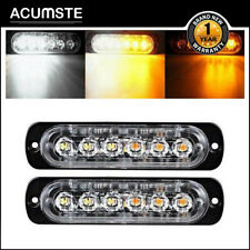 Pair Amber/White Car Truck 6 Led Emergency Warning Hazard Flash Strobe Lights