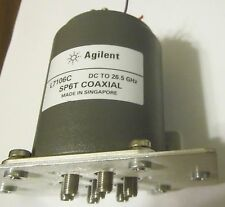 6 POLE AGILENT L7106 DC TO 26.5 GHZ SP6T COAXIAL SWITCH  ON MOUNTING PLATE
