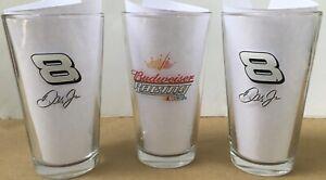 * 3 * NEW Budweiser Racing NASCAR Dale Earnhardt Jr #8 Pint Beer Glasses 16oz
