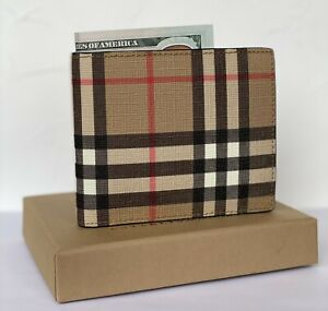 Burberry Bifold Wallet Vintage Check Leather Checkered E-canvas New 100%Genuine