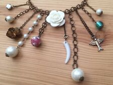 Vintage Charm Fringe Necklace White Flower Dove Faux Pearls Beads Bronze Chain