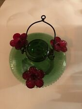 New listing Par-A-Sol Green Recycled Glass Hummingbird Feeder 3 Red Flowers Tubs