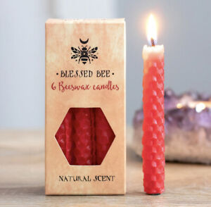 Pagan/Wiccan Pack Of 6 Beeswax Spell Candles ( Red )