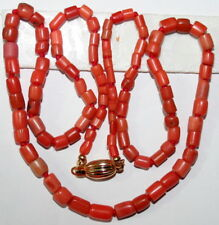 CORAL SALMON REAL ANTIQUE VICTORIAN 48cm SILVER GOLD PL CLASP KNOTTED NECKLACE