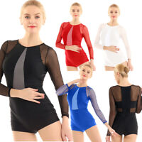 Damen Einteiler Tanzbody Gymnastikbody Langarm Ballettbody Bodysuit Turnanzug