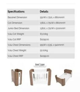 Vulu Love N Care 3 In 1. Baby Cot,  bassinet & Toddler's.cot with cover, matress