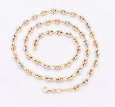 5mm enlace hinchado Mariner Cadena Collar Tricolor Real Blanco Rosa Oro Amarillo 14K