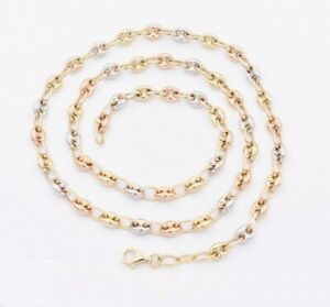 5mm Puffed Mariner Link Chain Necklace Tricolor Real 14K Yellow White Rose Gold
