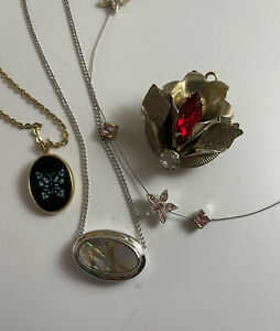 Vtg 4 Pc Lot 3 Necklaces 2 Avon Abalone Shell + Pink Crystals & Crystal Pendant