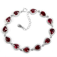 GENUINE BLOOD RED RUBY PEAR & WHITE CZ STERLING 925 SILVER BRACELET 7.5 INCH.