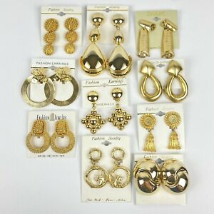 Vintage 80s Lot of 10 Gold Tone Clip On Earrings Chunky Huge Statement