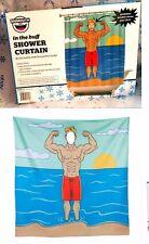 In The Buff Peekaboo Shower Curtain Body Builder Beach Body Muscle Man Fabric