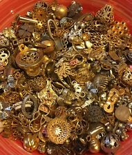 VINTAGE METAL FINDINGS AND JEWELRY PARTS 1930'S - 80'S, 3 OZ GRAB BAG